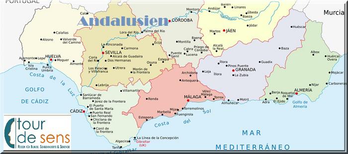 Landkarte Provinz Andalusien und tour de sens Logo