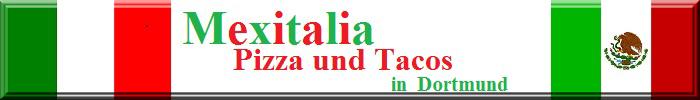 """Italienische und mexikanische Flagge mit Schriftzug """"Mexitalia - Pizza und Tacos in Dortmund"""""""
