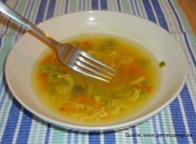 Suppenteller mit darin liegender Gabel.