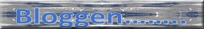 Blauer Schriftzug 'Bloggen' auf blaugrauem Hintergrund