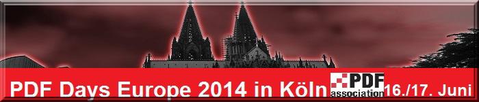 Collage: stilisierter farbiger Ausschnitt Kölner Dom ; Text: PDF Days Europe 2014, sowie Logo PDF Association