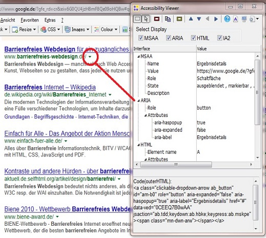 Screenshot: google-website mit sichtbarem Aviewer Fenster, in dem die Attribute angezeigt werden.