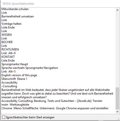 Screenshot: Der Sprachbetrachter listet alle vorgelesenen Texte auf