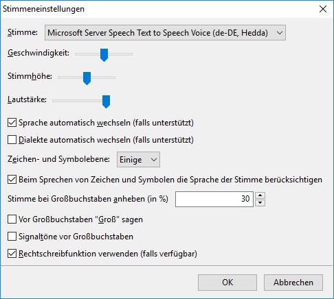Screenshot Stimmeinstellungen und Auswahl der Stimme Hedda