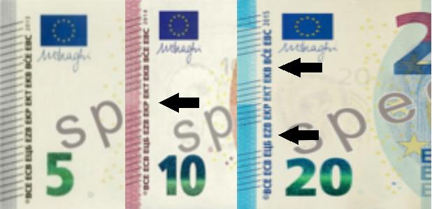5, 10 und 20 Euro-Geldschein; die taktilen Unterscheidungsmerkmale sind mit schwarzen Pfeilen markiert