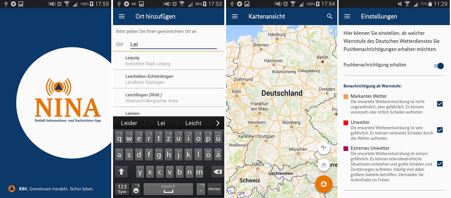 Collage von 4 Screenshots der NINA-App