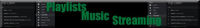 Text:Playlists Music Streaming mit Icons und angedeuteten Listen